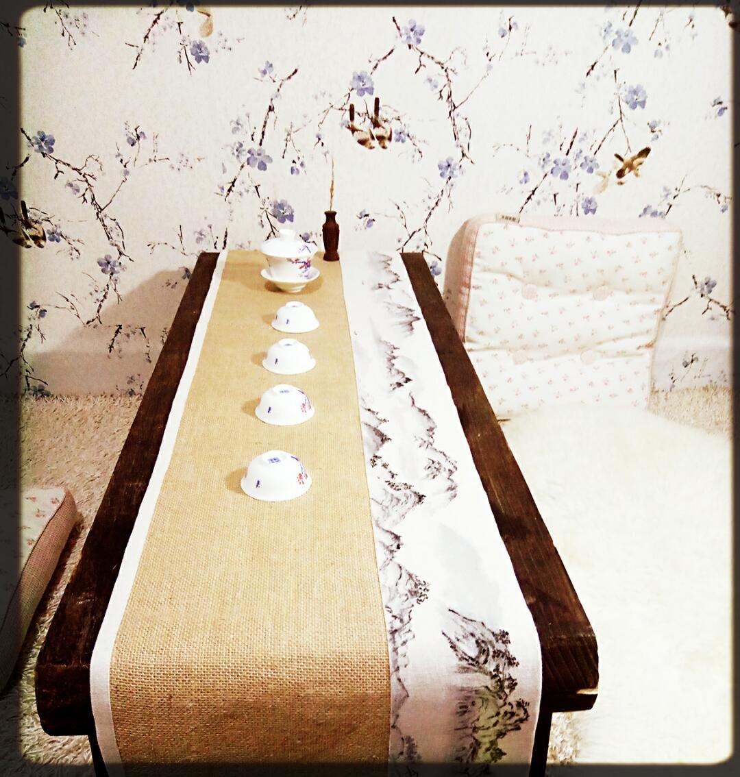 黄麻茶席·国画山水手绘预订(30*180)