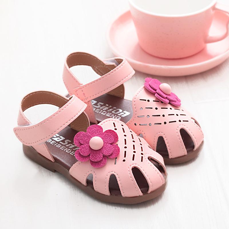 夏季新款韩版女小童凉鞋镂空公主鞋包头宝宝鞋防滑休闲平底鞋