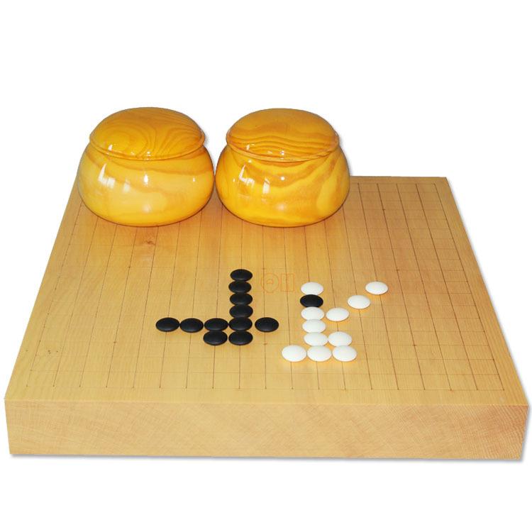 高档围棋套装 6CM独木榧木棋盘+D型双凸云子围棋+云杉木围棋罐