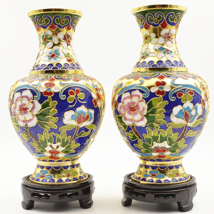 景泰蓝花瓶金地花丝牡丹铜胎掐丝珐琅器摆件特色商务收藏会议礼品