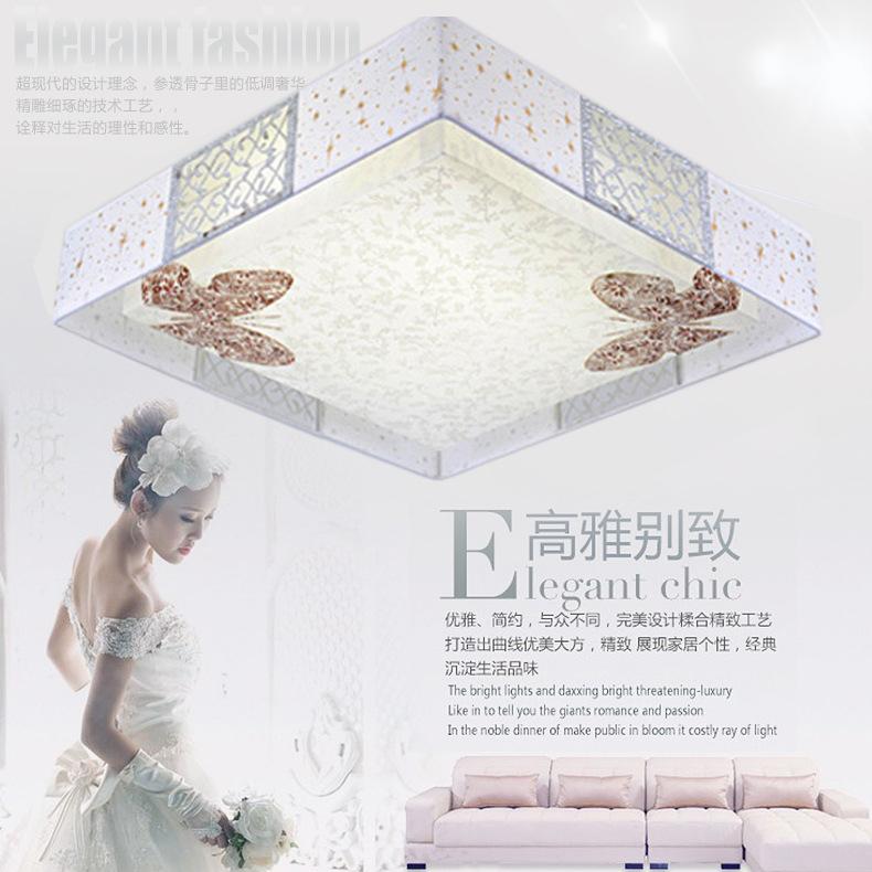 LED灯韩式现代时尚正方形蝴蝶吸顶灯卧室灯客厅灯饰灯具特价