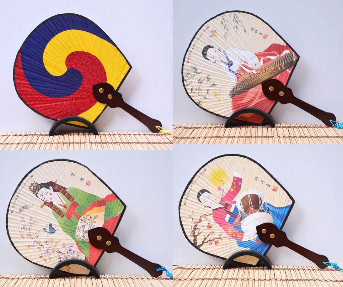 厂家批发 韩国进口复古丝绸太极扇子娟扇韩国工艺品摆件韩式扇子