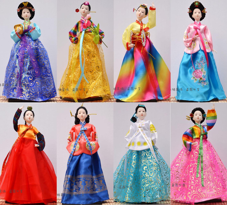 16寸韩国民间工艺品人偶手工绢人娃娃料理点装饰酒店摆件货源批发