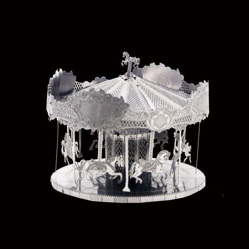 爱拼 全金属不锈钢DIY拼装模型3D免胶拼图 旋转木马 冲冠