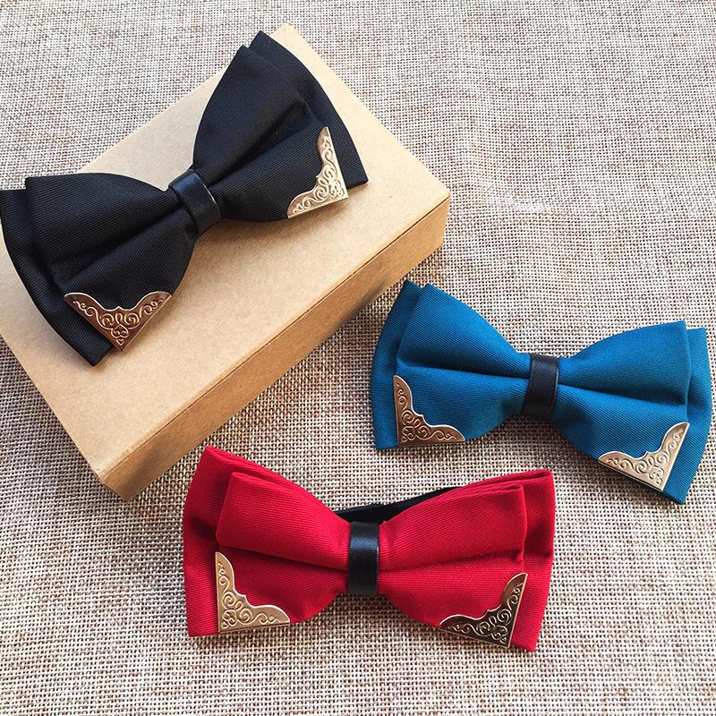 厂家现货供应金属镶边领结 纯色带金属角时尚新潮领结