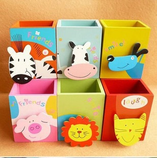 F022韩国创意文具 木制 可爱彩绘动物笔筒 带便签夹子【创意文具A仓满29包邮】