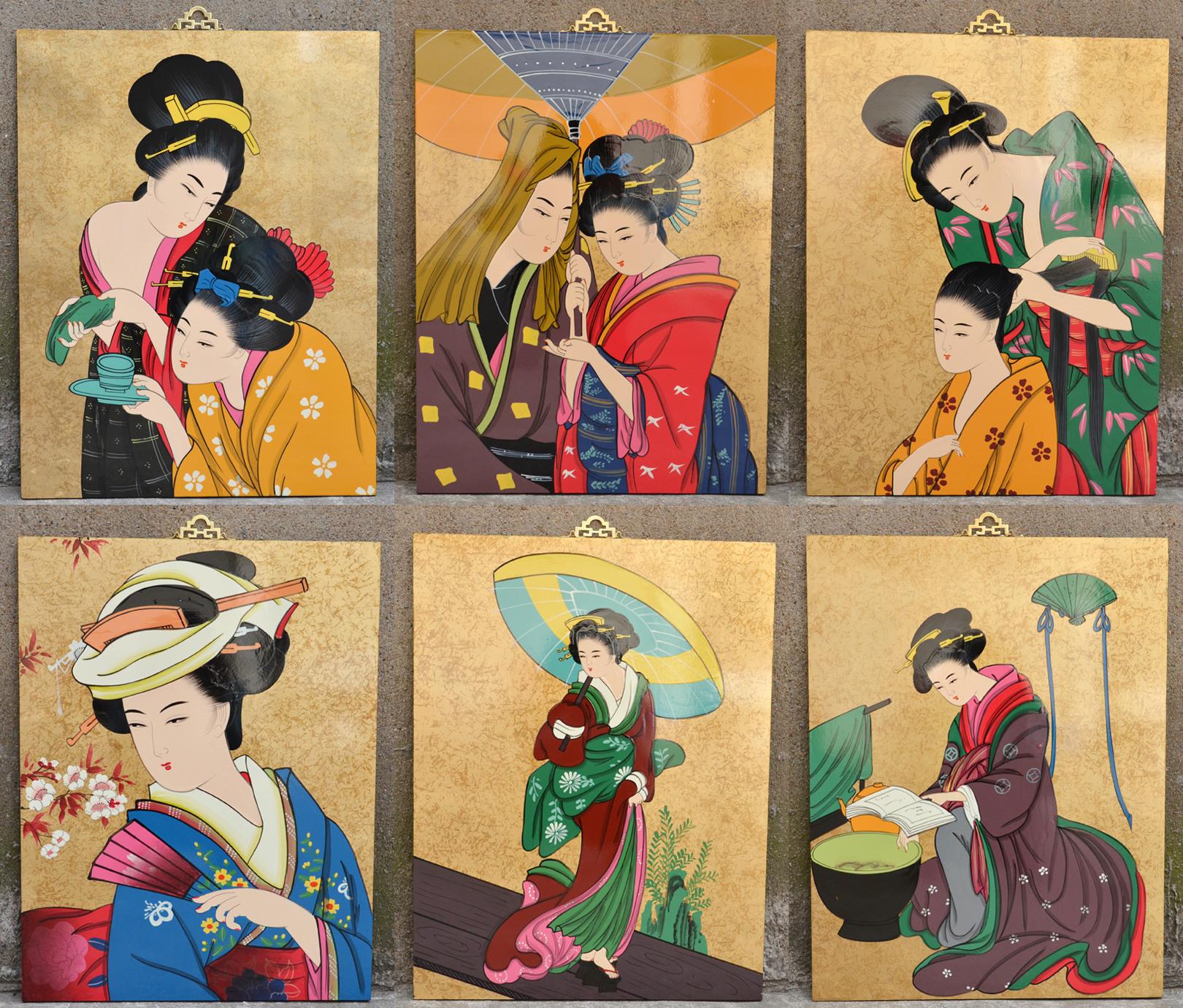 日本料理店酒店餐厅装饰漆画日式装饰用品仕女挂屏漆器开业礼品