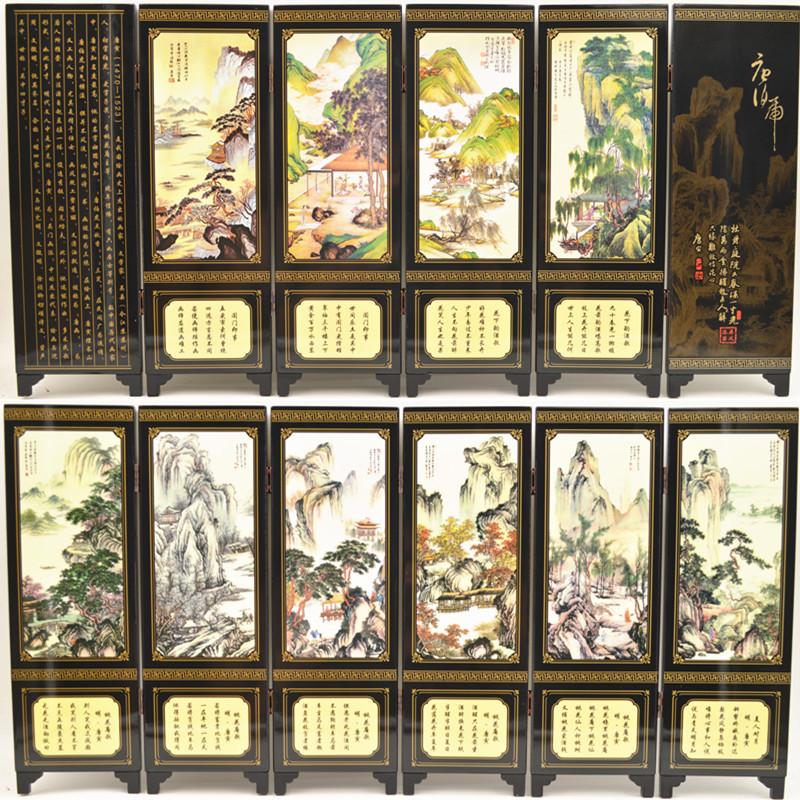 仿古漆器 小屏风装饰摆件中国风特色礼品送老外礼物六扇熊猫