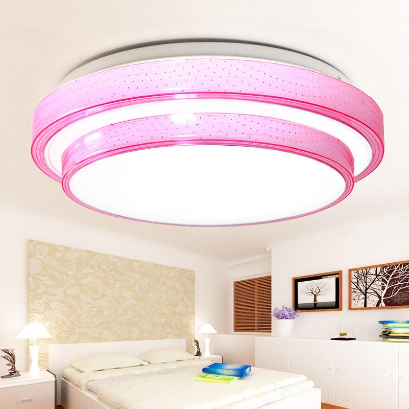 现代简约圆形温馨LED吸顶灯书房餐厅女孩房卧室灯彩色亚克力灯具