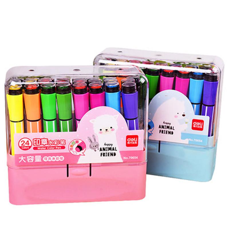 得力水彩笔36色套装儿童幼儿园可水洗彩色画笔24色印章水彩笔【办公用品A仓满29包邮】