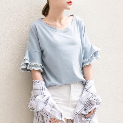 夏季新款韩版纯棉女装花边喇叭袖宽松百搭时尚女学生上衣T恤