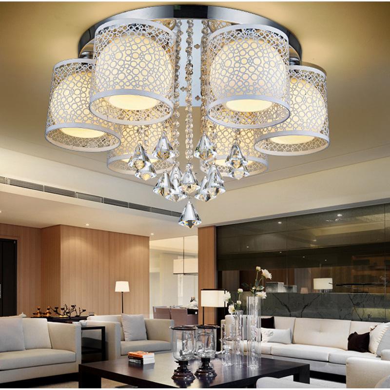 简约现代客厅led水晶吸顶灯卧室书房餐厅大气灯具玻璃创意带遥控