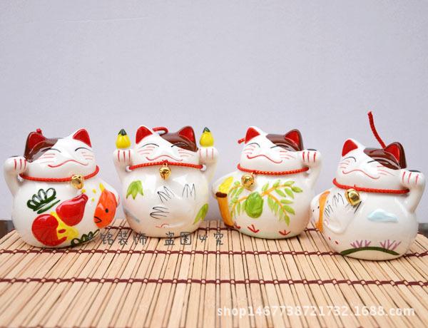 4寸招财猫存钱罐日本正版小号陶瓷储蓄罐收银台汽车摆件开业礼物