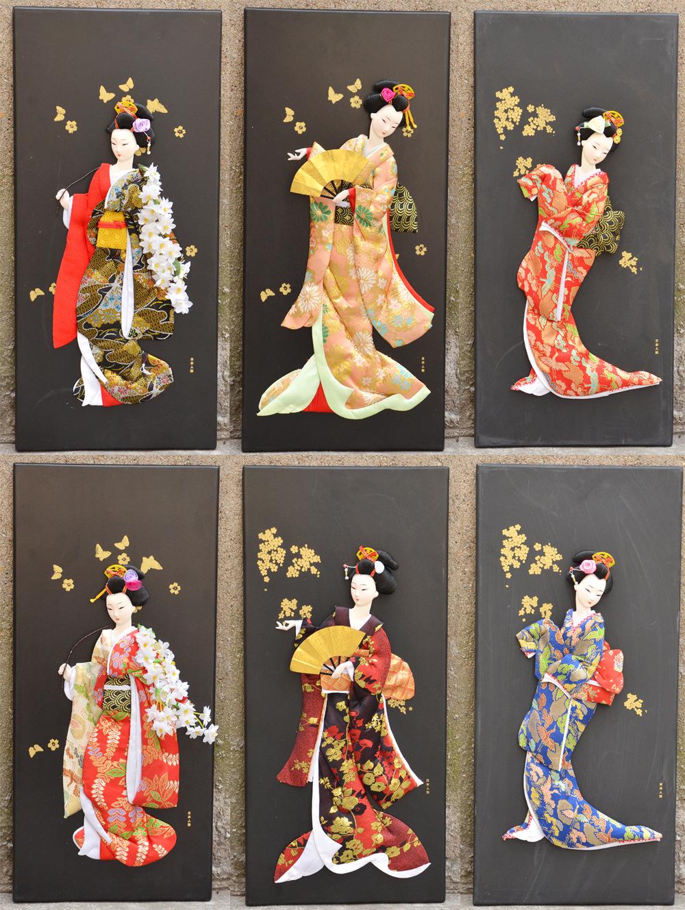 日本艺妓人偶版画日式浮世绘立体挂画无框画家居酒店装饰画人物画