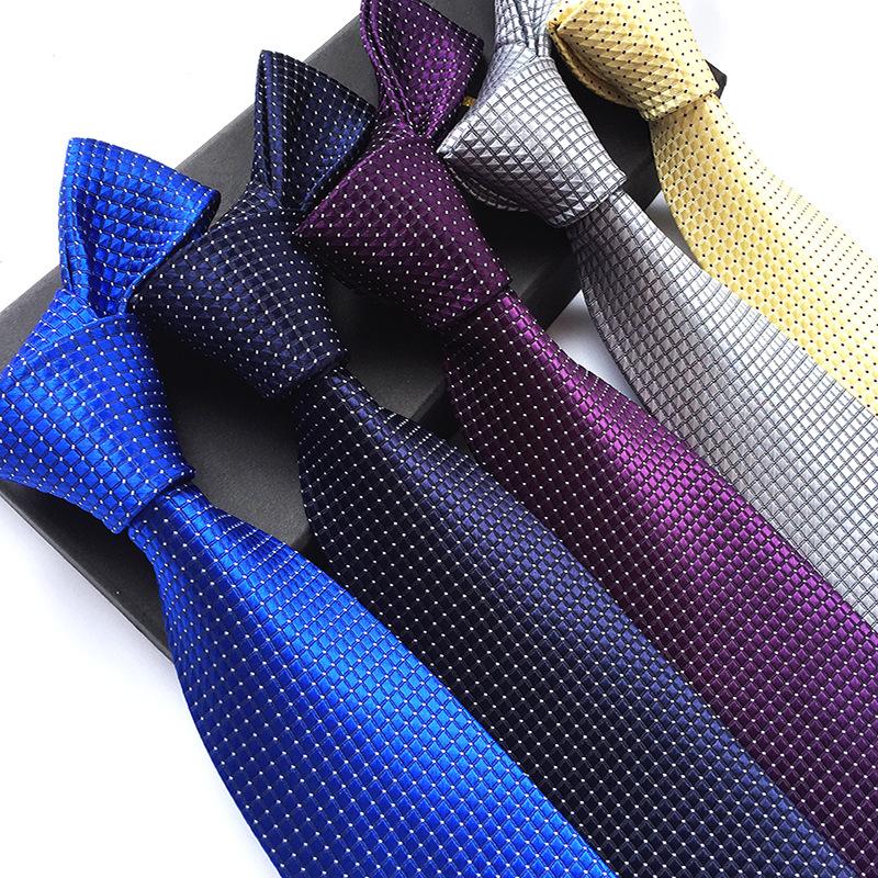 厂家现货供应新款8cm涤纶材质男士时尚休闲细格纹领带