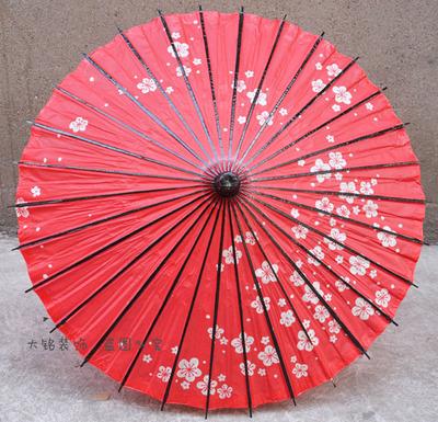 红色樱花日本风格装饰伞 餐厅摆饰棉纸伞动漫cos伞货源批发