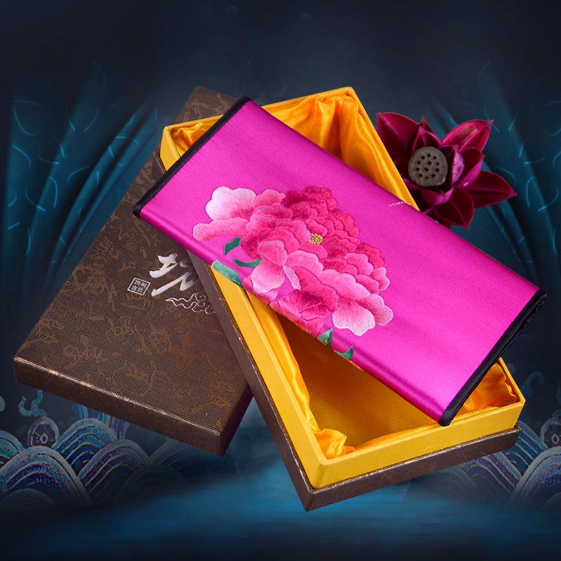 精美特色牡丹苏绣礼品手工真丝平绣长款三折女士手拿钱包