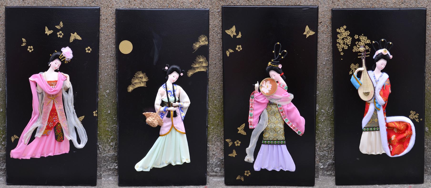 四大美女人偶版画立体挂画无框画家居装饰画古代格格美女仕女壁画