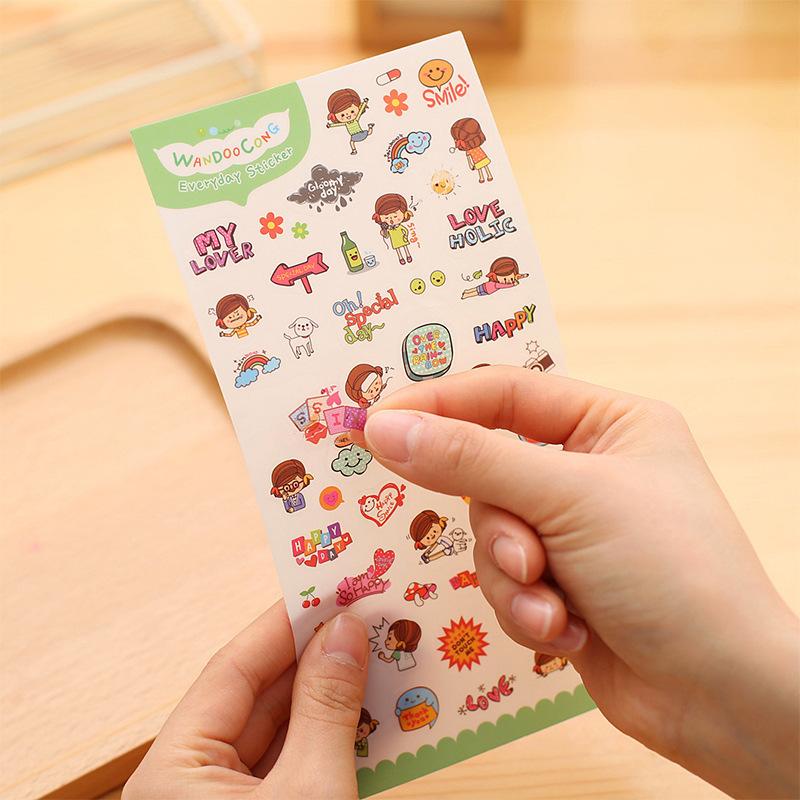 我的快乐生活PVC贴纸 可爱本子装饰 儿童DIY本子相册贴纸本【创意文具A仓满29包邮】