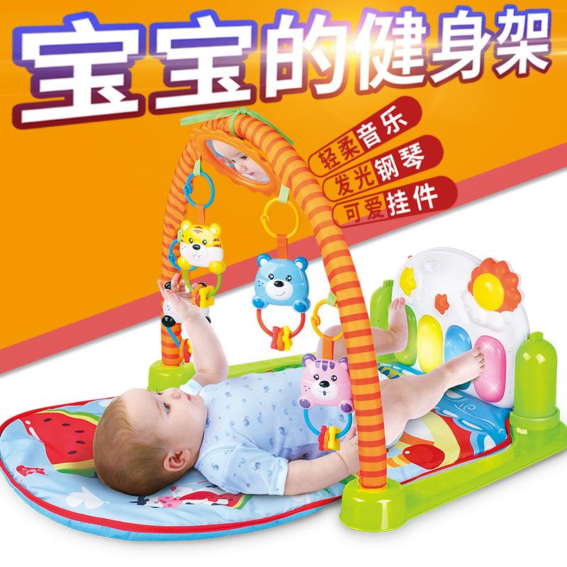 婴儿脚踏钢琴健身架 带音乐多功能爬行垫游戏毯早教宝宝玩具0-1岁