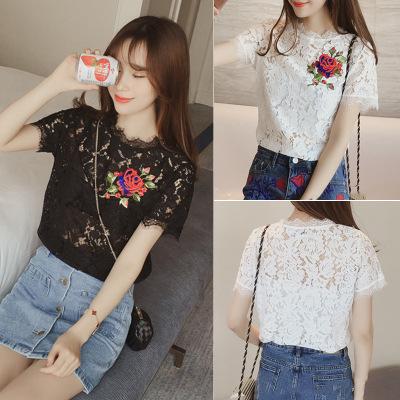 夏季新款韩版短袖T恤女刺绣花朵镂空钩花显瘦短袖蕾丝衫t恤女