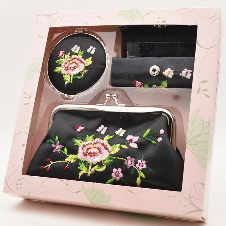 特色刺绣口红盒子 带镜子 收纳盒子 唇膏盒 出国小礼品旅游纪念
