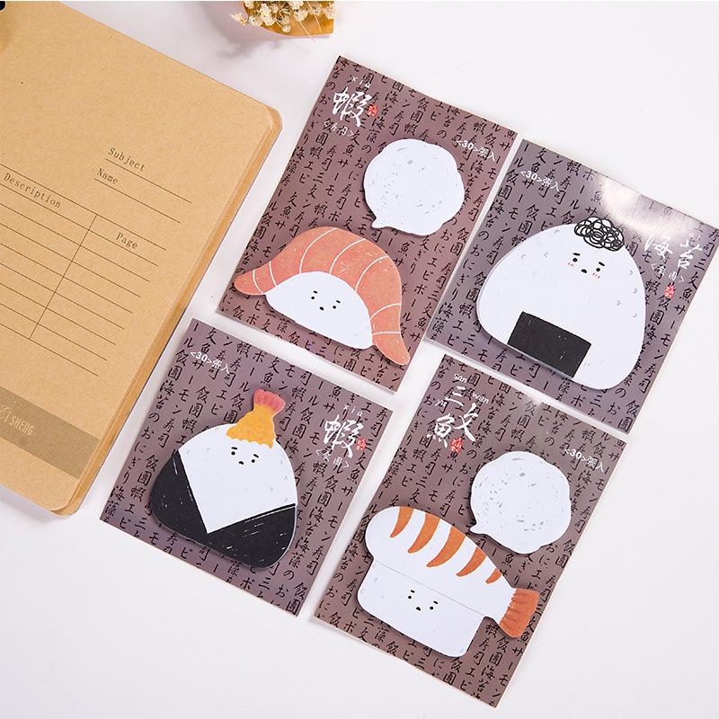0811 日本韩国文具 元气饭团日式食物创意空白留言便签本N次贴【创意文具A仓满29包邮】