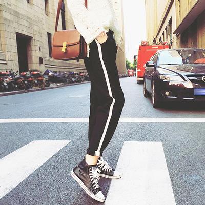 夏季新款韩版宽松哈伦裤小脚九分大码休闲裤宽松黑色运动裤女
