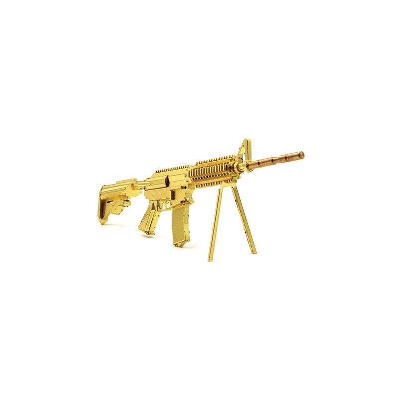 立体金属拼装M4A8金色卡宾枪军事模型diy益智拼图玩具创意摆件