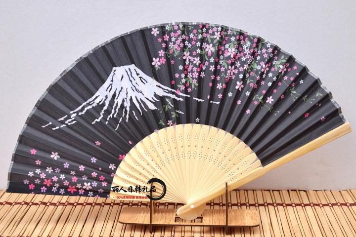 日式和服扇日本和风扇绝美樱花绢布女式折扇中国风工艺礼品扇摆件