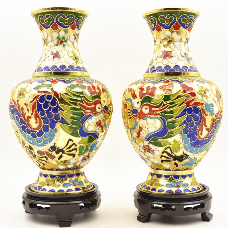 北京工艺礼品纯手工铜掐丝珐琅正宗景泰蓝花瓶8寸龙凤呈祥瓶一对