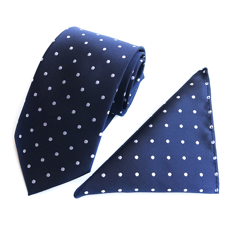 厂家现货直供套装网销爆款圆点波点高雅大气西装领带口袋巾套装