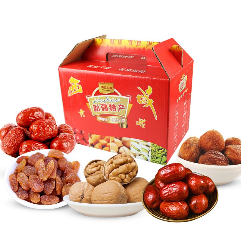 新疆特产干果礼盒拼盘 红枣核桃 葡萄干2000g 包邮年货礼盒送礼