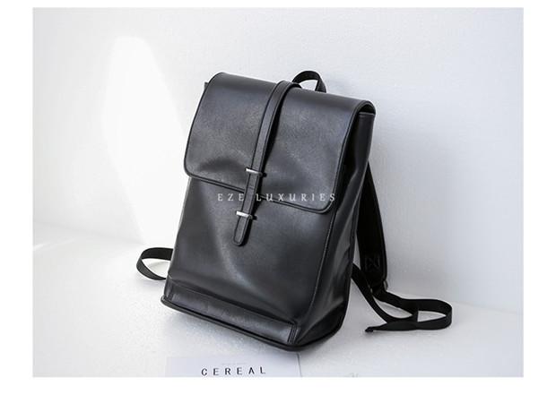 E家超纤双肩包男女同款书包欧美皮质个性翻盖时尚背包旅行电脑包
