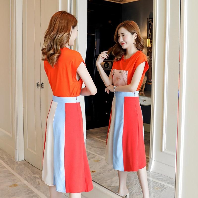 2018夏季新款时尚短袖T恤上衣女宽松高腰显瘦A字半身裙两件套女潮