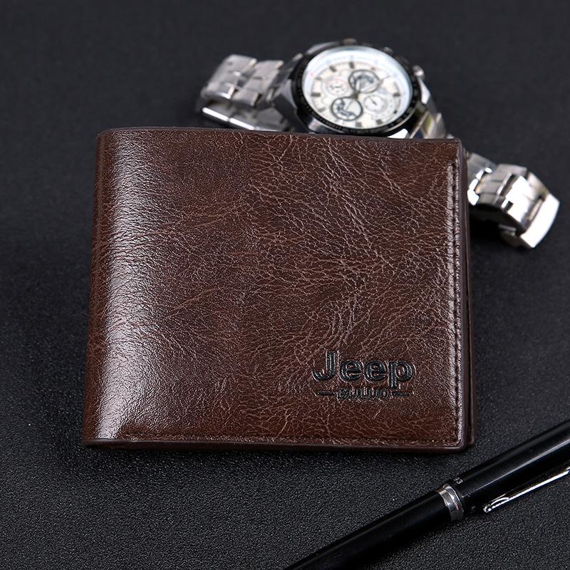 爆款男士赠品新款时尚简约jeep风钱夹经典短款两折多卡位钱夹钱包