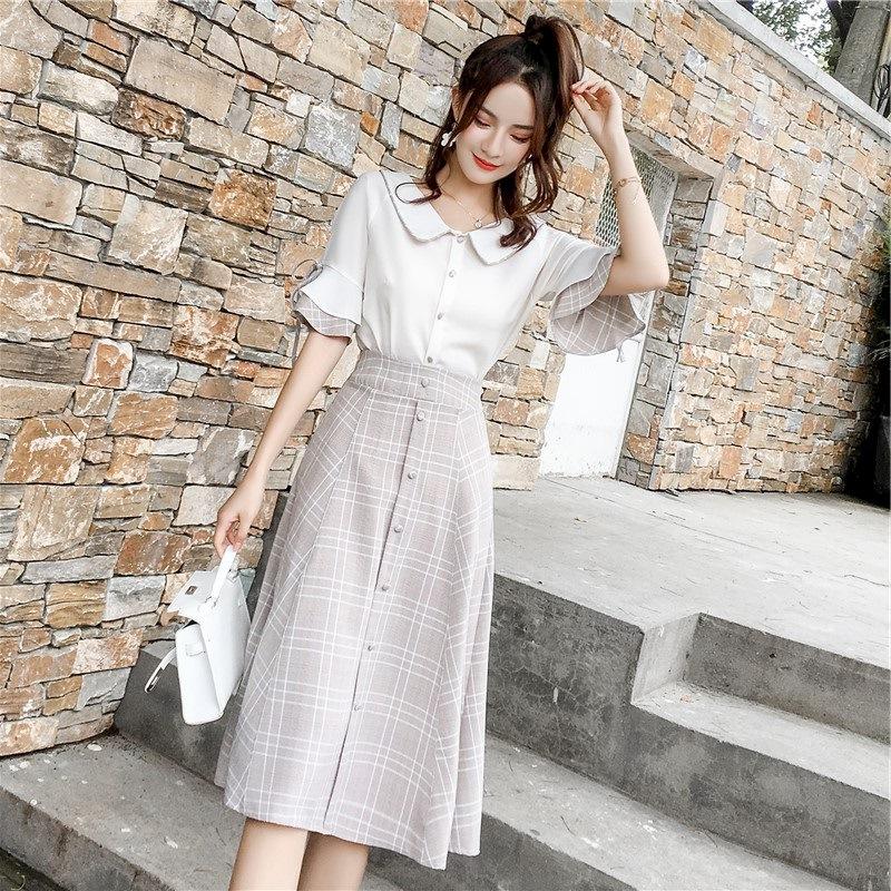 小清新连衣裙女夏季装2018新款晚风时尚高腰A字半身裙套装两件套