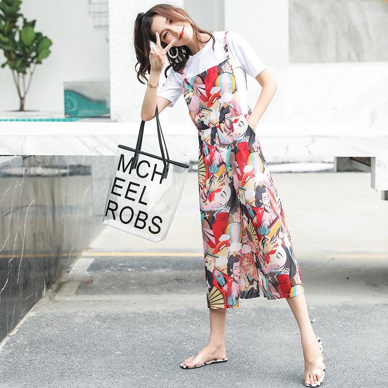 2018夏季新款小清新吊带套装短袖t恤两件套雪纺印花背带阔腿裤女
