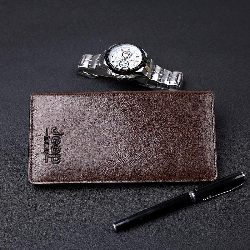 男士长款两折钱夹多卡位男款手拿包简约纯色经典时尚风钱包